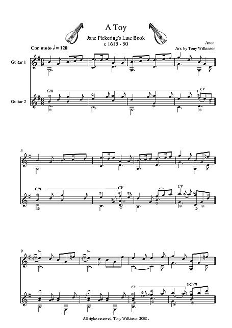 A Toy Guitar Duet - Guitar duet - Partituras - Cantorion