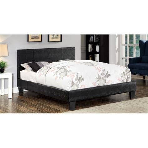 faux leather platform bed furniture of america nicole california king faux leather
