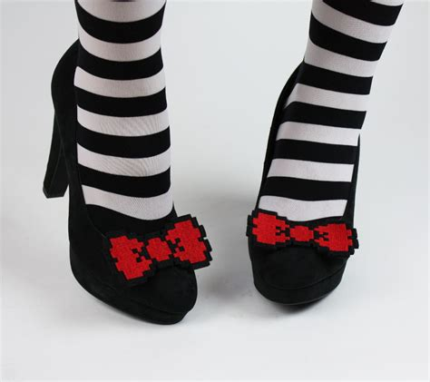 shoe clip 8 bit bow shoe pixel bows basil s boutique