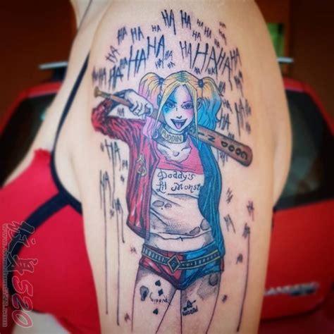 多款叛逆的彩绘人物肖像小丑女哈莉纹身图案