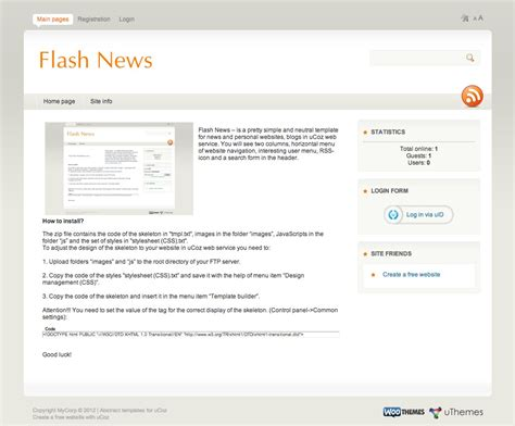 news flash template flash news professional ucoz templates