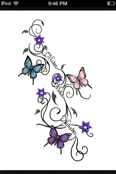 butterfly tattoo designs with names family ideas butterflies name
