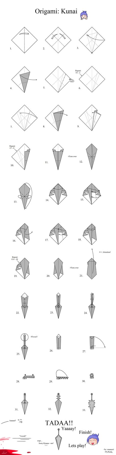 How To Make Origami Kunai - tutorial origami kunai by mahou no omamori on deviantart