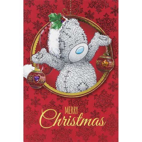 tatty teddy holding decorations    bear christmas card xmt    bears