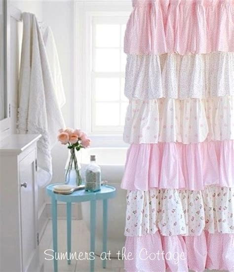 cottage colors ruffle shower curtain pink roses