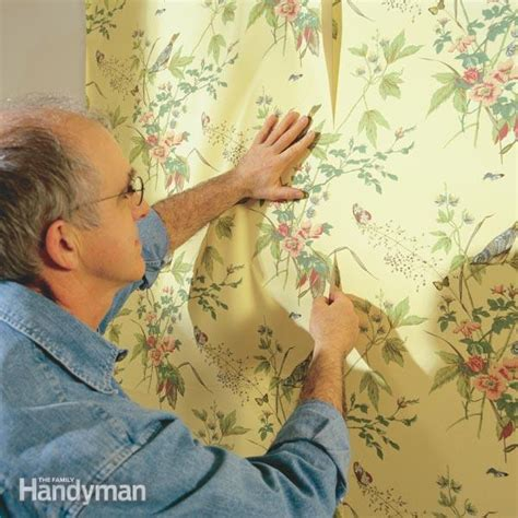 Where To Start Wallpapering In A Room by How To Hang Prepasted Wallpaper The Family Handyman