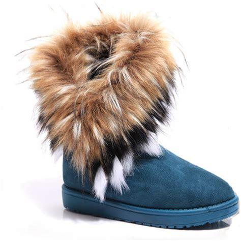 artificial fox rabbit fur winter snow ankle boots alex nld