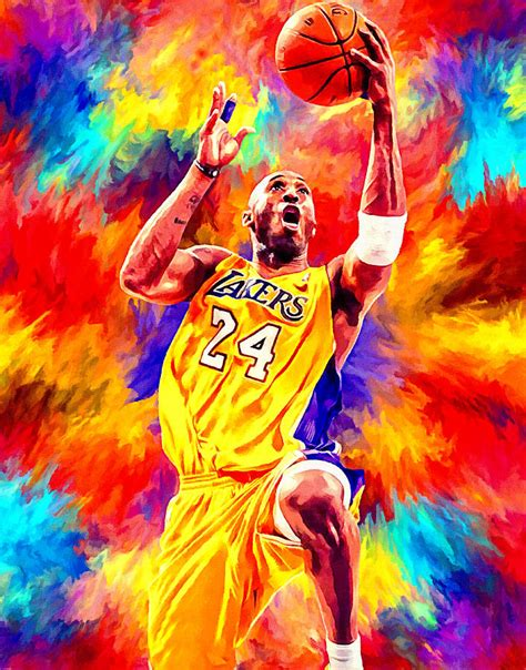 basketball pop art paintings kobe bryant basketball art portrait painting painting by