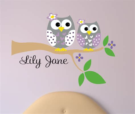owl wall sticker personalized owl decal name wall decal owl wall decals