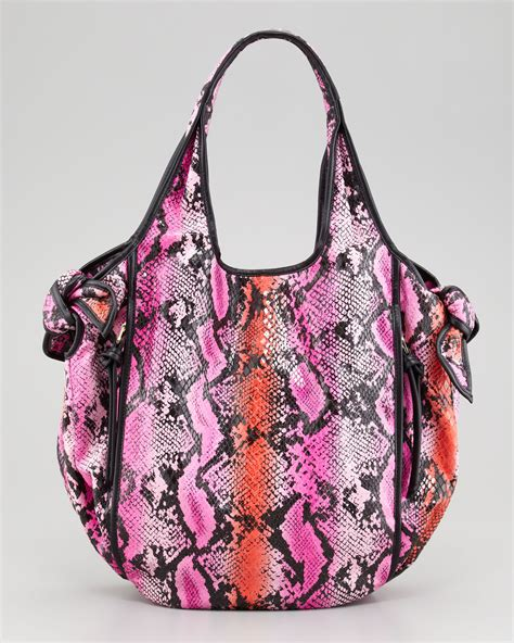 Kooba Tote Bag by Kooba Carmine Knot Tote Bag Pink In Purple Magenta Python