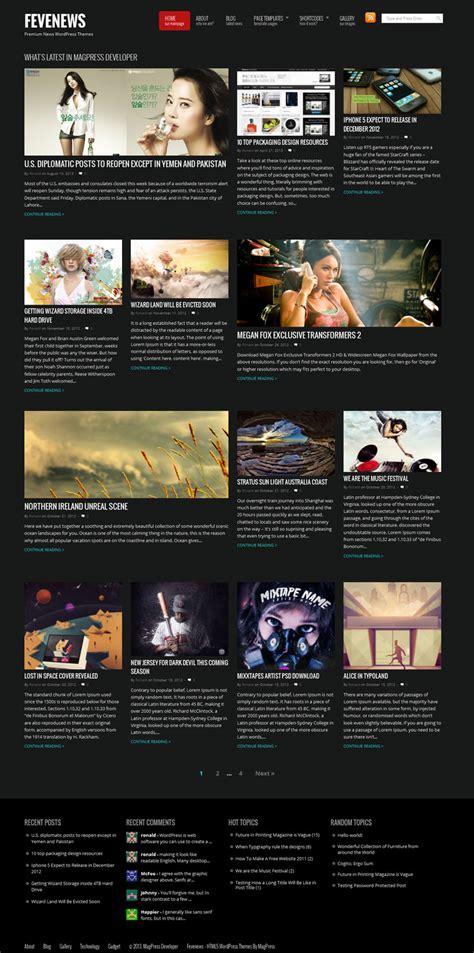 black themes wordpress free fevenews free magazine and news wordpress theme