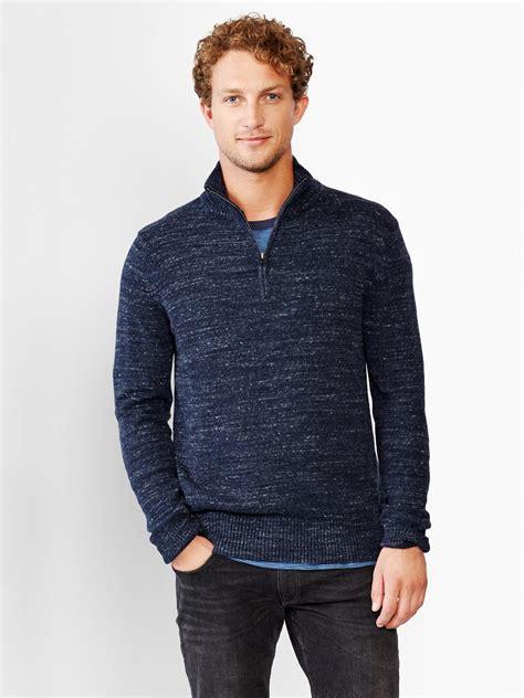 Sweater Gap Original gap marled half zip mockneck sweater in blue for navy lyst