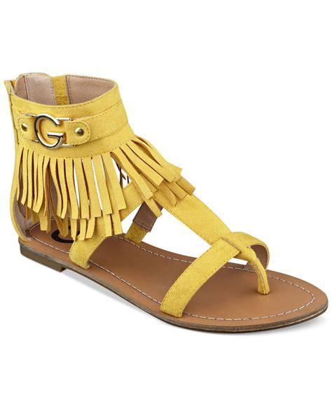 s fringe sandals g by guess s hazed fringe gladiator sandals in