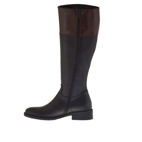 boot wth zipper in black and brown leather heel 3