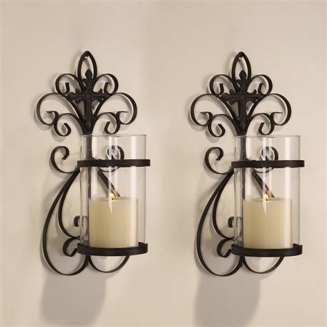 adeco iron and glass vertical wall hanging candle holder