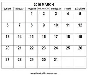 2016 march calendar printable calendar template 2016