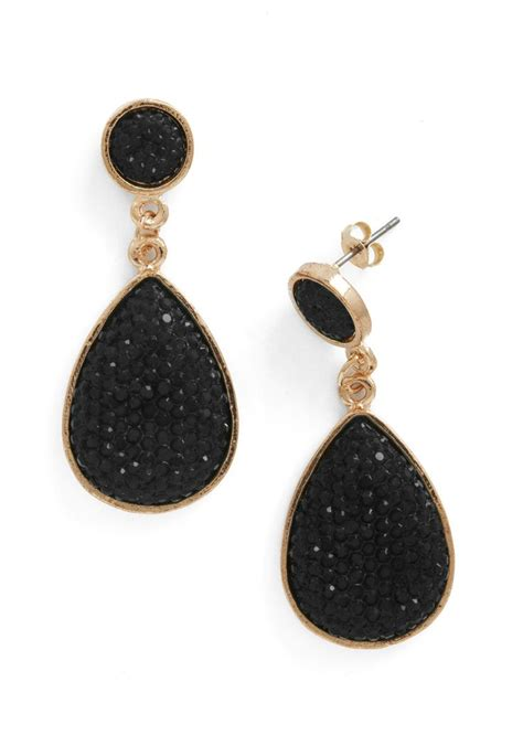 Black Earrings droplet like it s haute earrings in black
