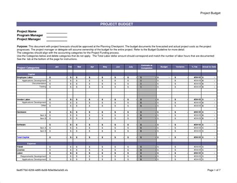 projected budget template excel 6 project budget template procedure template sle