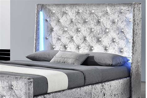 Beds With Diamante Headboard by Dorchester Led Winged Headboard Crushed Velvet Diamante