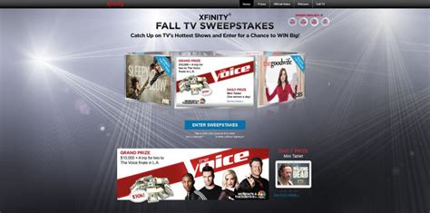 Tv Sweepstakes 2014 - xfinity fall tv sweepstakes xfinitysweepstakes com 10 000 plus a trip to the