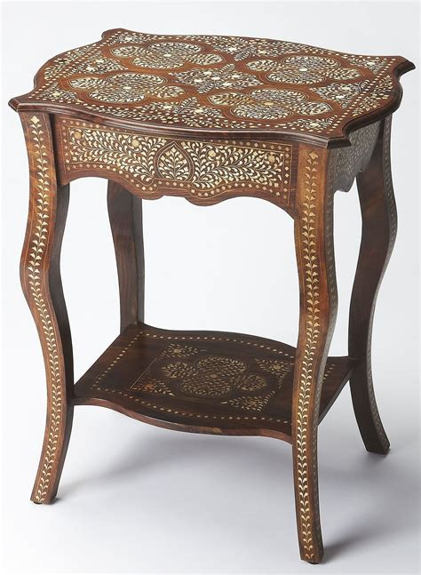 bone inlay side table bone inlay wood side table from butler 3597338 coleman