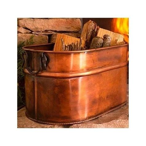 copper firewood tub wood holder for fireplace cast iron