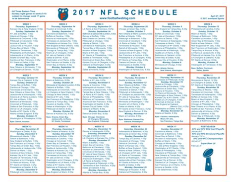Printable Nfl Schedule 2017 | schedules calendars football weblog