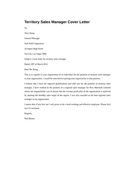 Sle Of A Cover Letter For Application by Basic Territory Sales Manager Cover Letter Sles And Templates