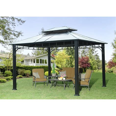 Permanent Patio Canopy by Sunjoy Heartland 12 Ft W X 10 Ft D Metal Permanent