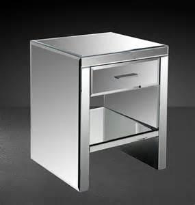 Modern Mirrored Nightstands Gerona Modern Mirrored Bedroom Nightstand