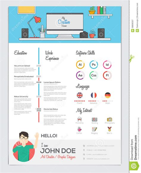 curriculum vitae flat design flat resume with infographics stock vector image 58806337