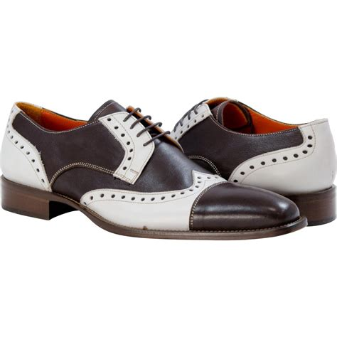 karl brown and white wingtip spectators paolo shoes