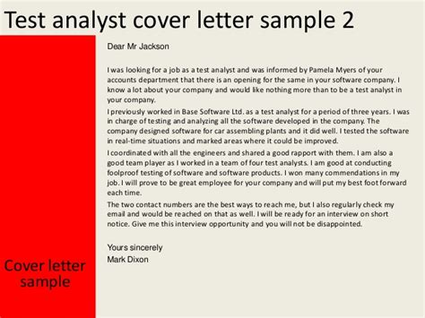 Benefits Analyst Cover Letter by Test Analyst Cover Letter