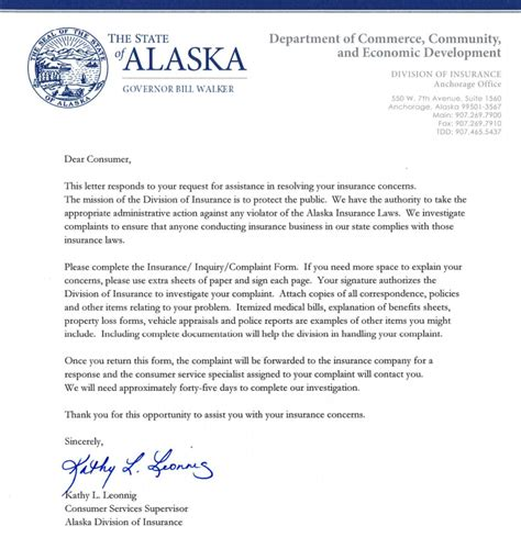 Reply Complaint Letter Insurance Company Alaska Insurance Commissioner Complaint
