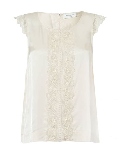 Sleeveless Lace Panel Top rosemunde womens geraldine ivory top sleeveless