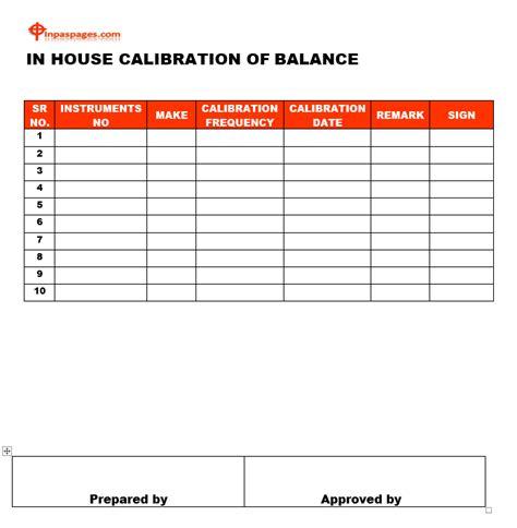 Inhouse Calibration Format Calibration Template Excel