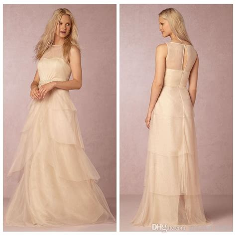 blush chagne tulle wedding dresses wedding party