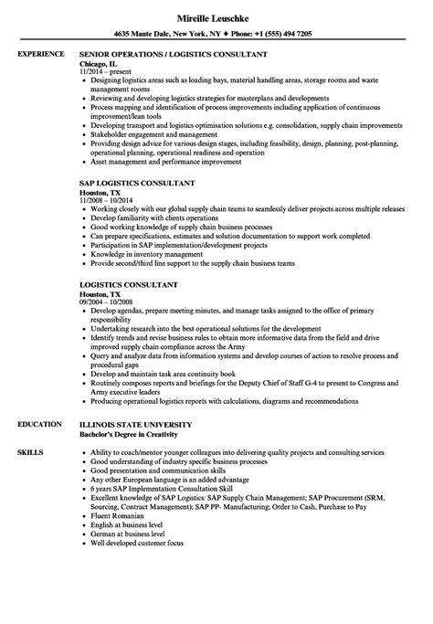Sle Consultant Resumes Exles by Supply Chain Management Consultant Description Best