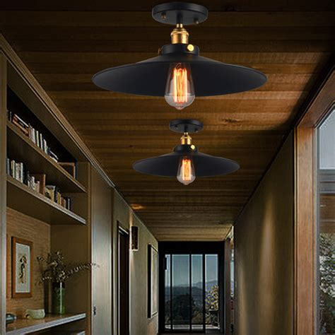 cabin ceiling lights simple rustic wrought iron industrial semi flush mount