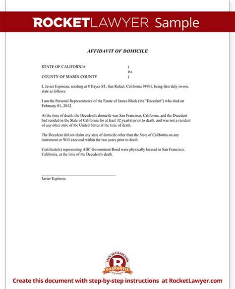 Proof Of Domicile Letter Affidavit Of Domicile Form Domicile Affidavit Sle Template