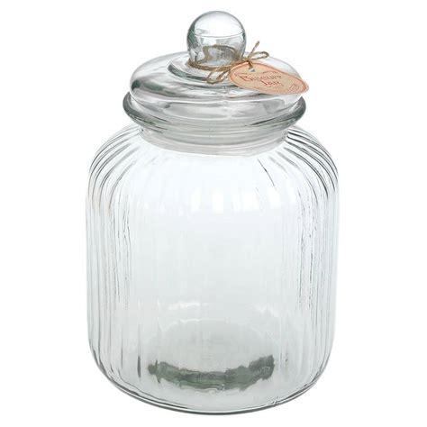 glass jars large ridged glass biscuit jar by ella notonthehighstreet