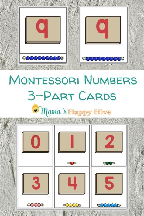 printable montessori number cards montessori numbers 3 part cards printable mama s happy hive