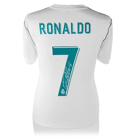 Tshirt C Ronaldo cristiano ronaldo back signed real madrid 2017 18 home shirt