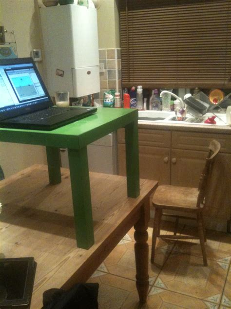 homemade standing desk showcases creative idea  helps