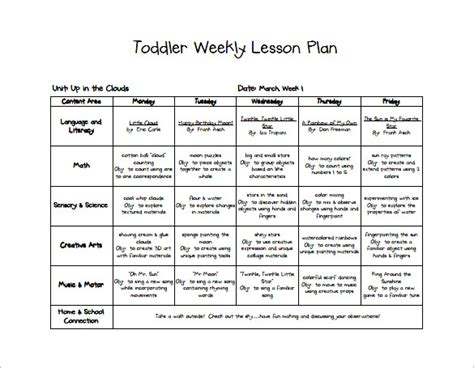 toddler lesson plan template 10 free sle exle