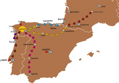 El Camino Map by The Top Five Camino De Santiago Routes Draft