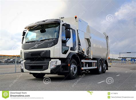 volvo white trucks for white volvo fe refuse collector truck editorial photo