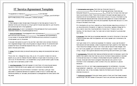 it service agreement contract template contract templates guidelines and templates for drafting