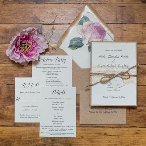 Chic Wedding Invitations by Rustic Chic Wedding Invitations Chic Shab