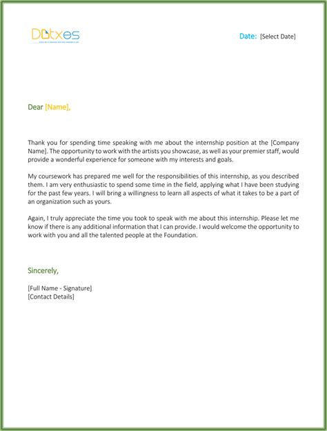 Thank You Letter Internship Thank You Letter For Internship Cover Letter Templates